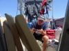 Suszenie jachtu po czterech dniach na Zatoce Biskajskiej