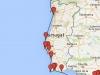 Sputnikiem dookoła Ziemi - mapa wybrzeża Portugalii